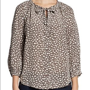 31b4e1e6d47f4 Joie Tops - Joie Madera Printed Silk Tie-Neck Blouse